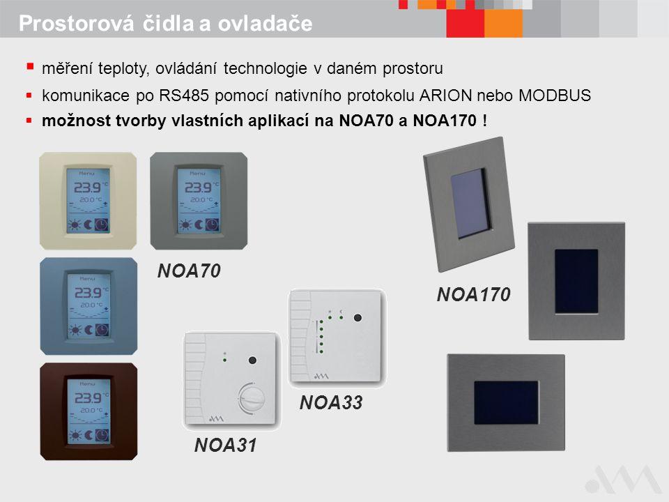 měření teploty, ovládání technologie v daném prostoru  komunikace po RS485 pomocí nativního protokolu ARION nebo MODBUS  možnost tvorby vlastních