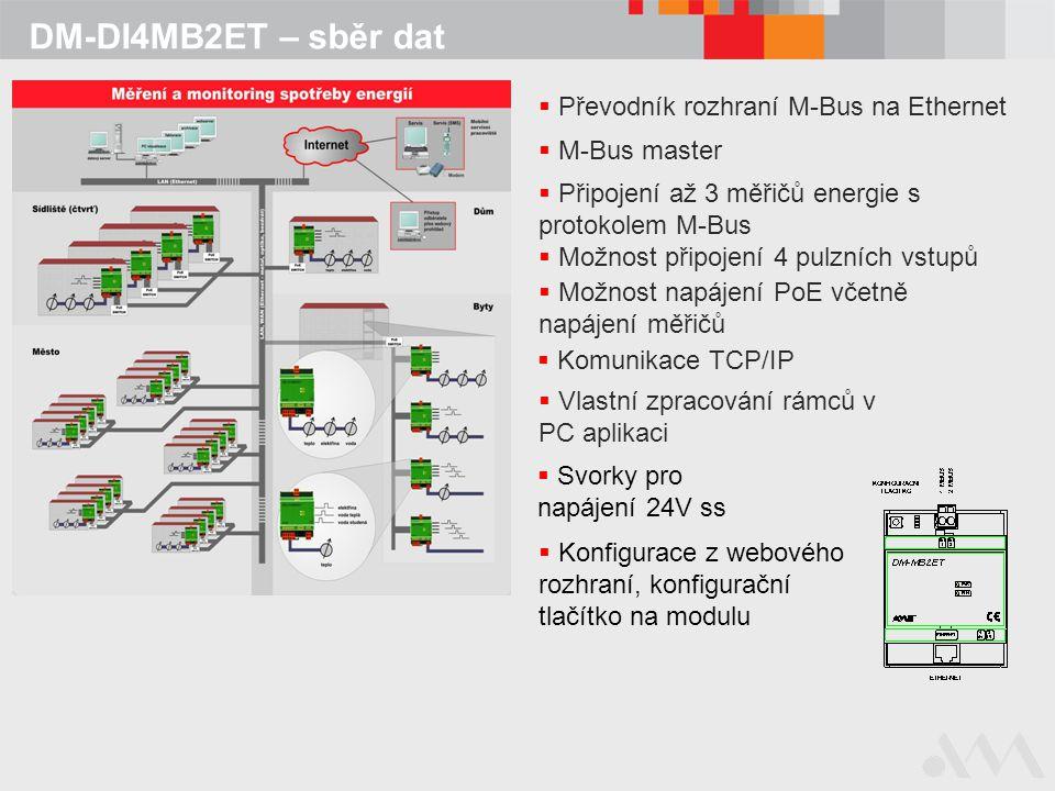 DM-DI4MB2ET – sběr dat  Převodník rozhraní M-Bus na Ethernet  Připojení až 3 měřičů energie s protokolem M-Bus  Možnost připojení 4 pulzních vstupů