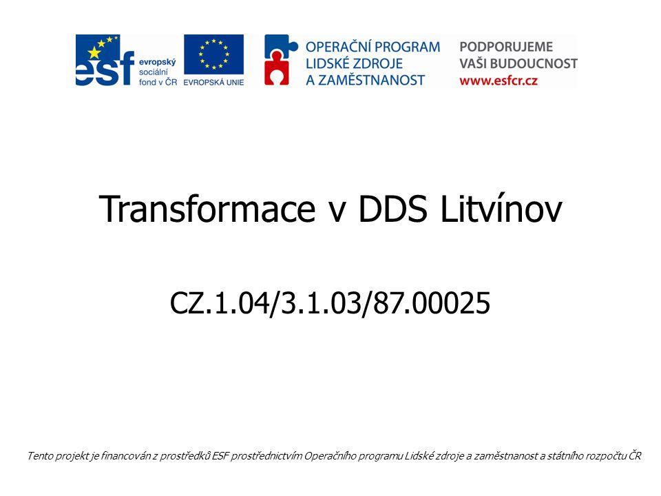 Transformace v DDS Litvínov CZ.1.04/3.1.03/87.00025 Tento projekt je financován z prostředků ESF prostřednictvím Operačního programu Lidské zdroje a zaměstnanost a státního rozpočtu ČR