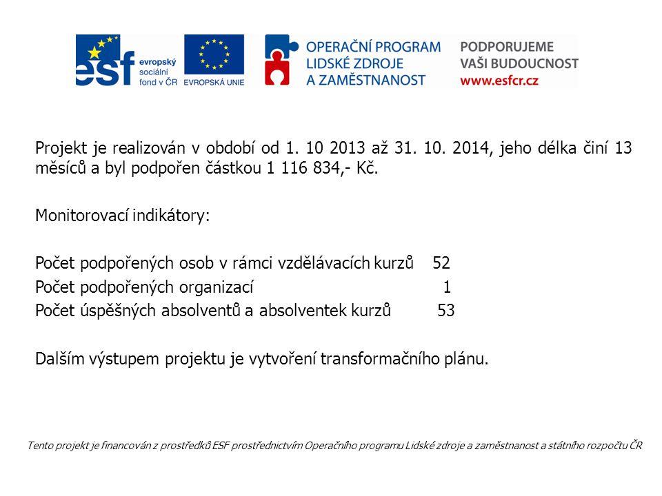 Projekt je realizován v období od 1. 10 2013 až 31. 10. 2014, jeho délka činí 13 měsíců a byl podpořen částkou 1 116 834,- Kč. Monitorovací indikátory