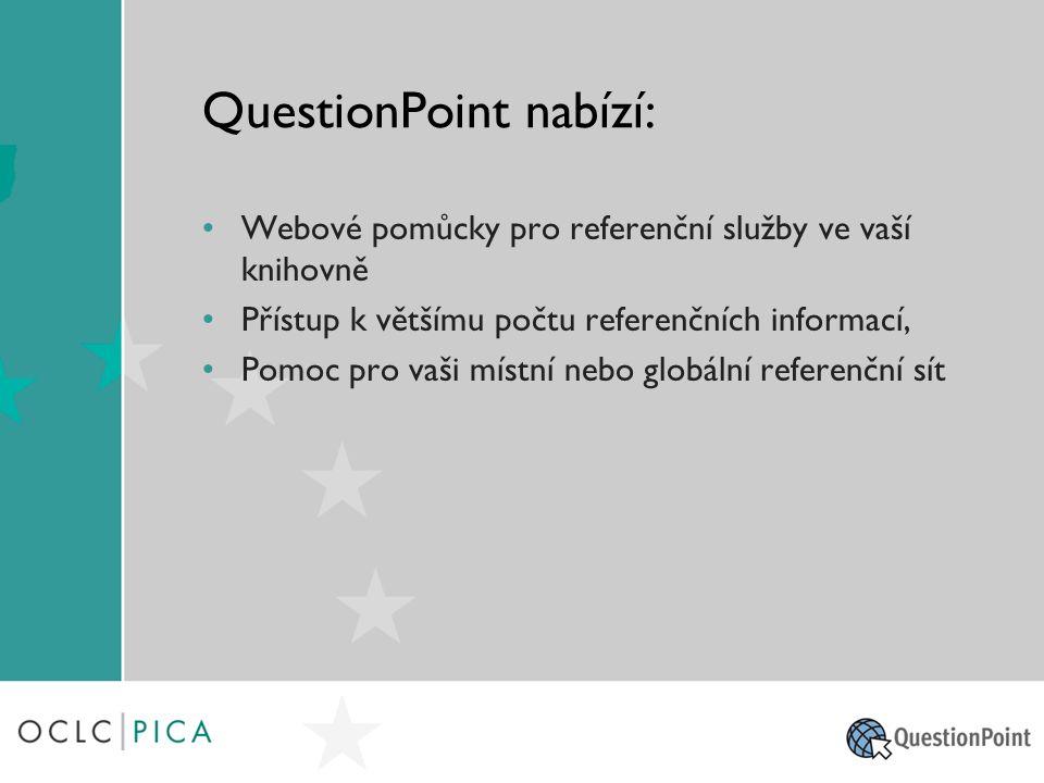 S QuestionPoint mohou knihovny… Zajistit referenční podporu uživatelům pomocí webu Nabízet službu podle místních požadavků a potřeb uživatelů, která je založena na využití formulářu, e-mailové a chatové interakci Používat zvýšenou komunikaci: dělit se o browsing, dokumenty, video atd.