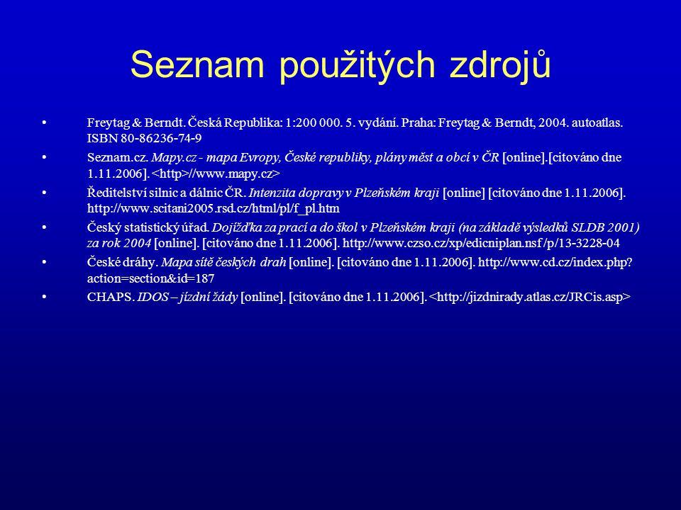 Seznam použitých zdrojů Freytag & Berndt. Česká Republika: 1:200 000. 5. vydání. Praha: Freytag & Berndt, 2004. autoatlas. ISBN 80-86236-74-9 Seznam.c