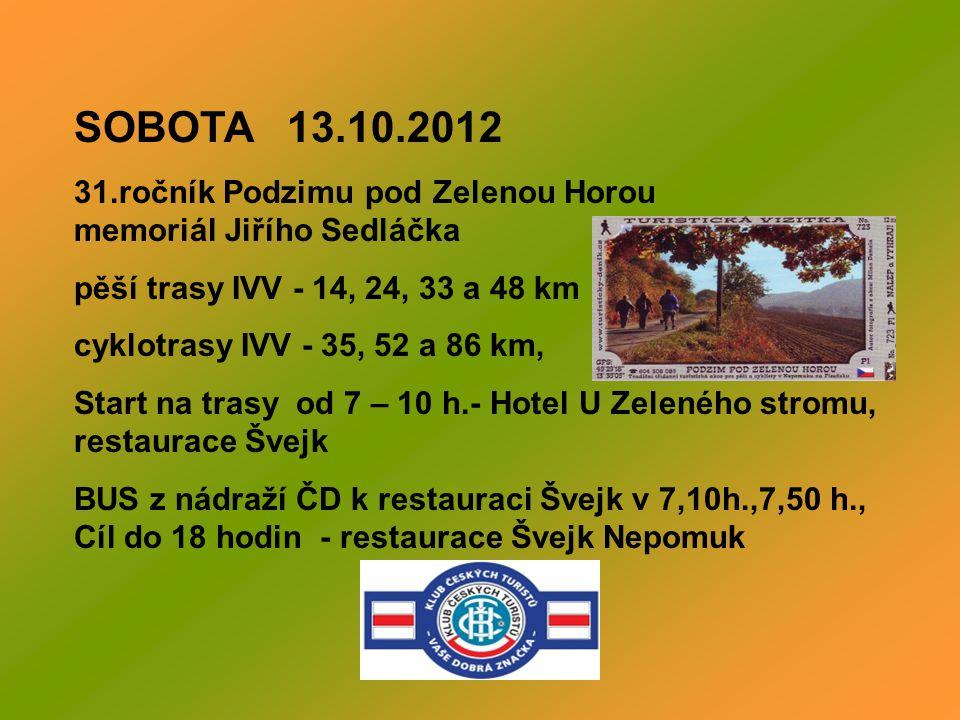 PÁTEK 12.10.2012 - Pivní pochod PPPPPP Podesáté Páteční Pěší Pivní Průzkumný Pochod – pěší trasa IVV - 10 km Nepomuk – Sokolovna – Na Vinici- lesní ce