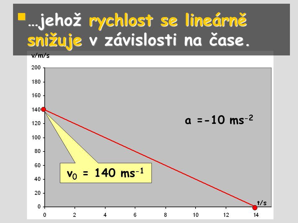  …jehož rychlost se lineárně snižuje v závislosti na čase. v 0 = 140 ms -1 a =-10 ms -2