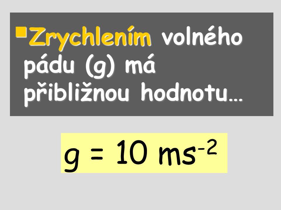  Zrychlením volného pádu (g) má přibližnou hodnotu… g = 10 ms -2