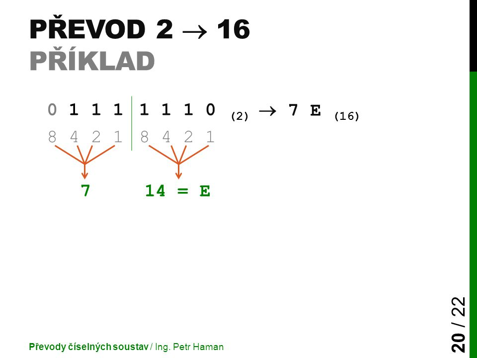 PŘEVOD 2  16 PŘÍKLAD Převody číselných soustav / Ing.