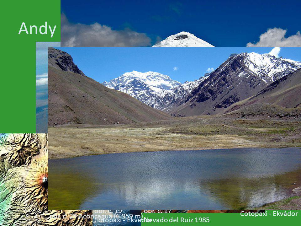 Andy obr. č. 3 obr. č. 17 Nevado del Ruiz 1985 obr. č. 16 Nevado del Ruiz 1985 sopečný bahnotok - lahary obr. č. 18 Cotopaxi - Ekvádor obr. č. 19 Coto