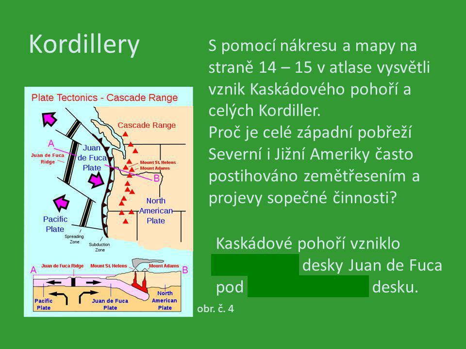 Kordillery obr. č. 4 S pomocí nákresu a mapy na straně 14 – 15 v atlase vysvětli vznik Kaskádového pohoří a celých Kordiller. Proč je celé západní pob