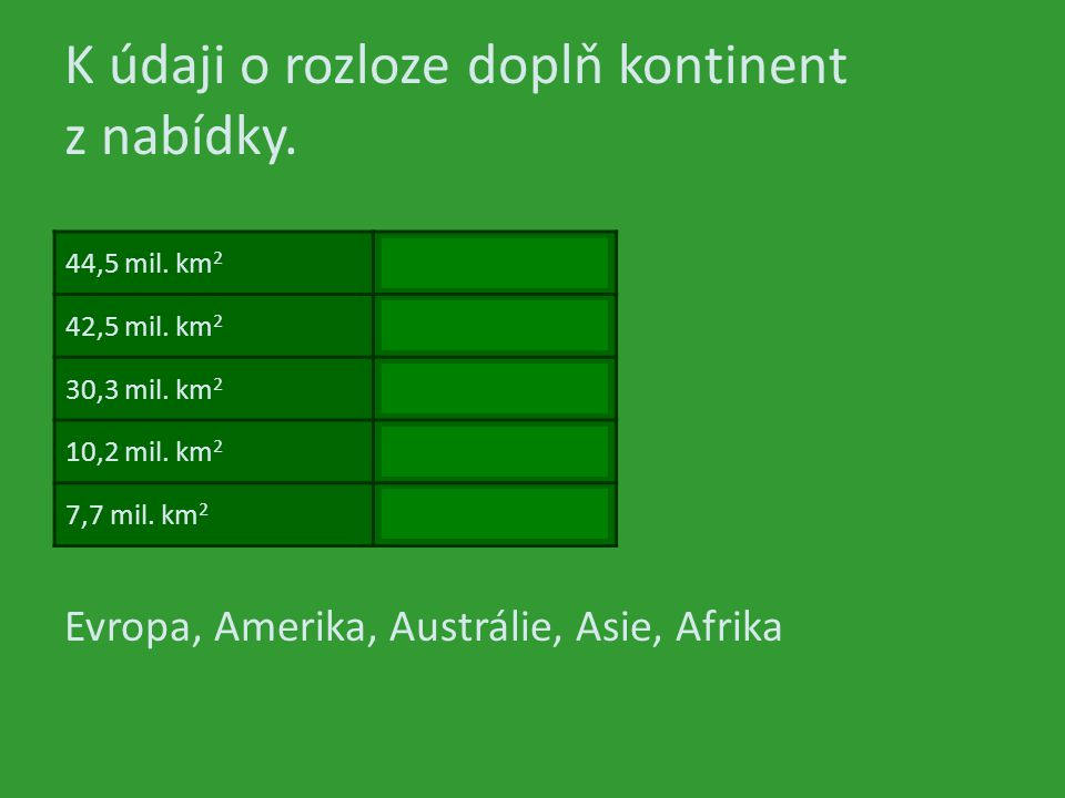 K údaji o rozloze doplň kontinent z nabídky. 44,5 mil. km 2 42,5 mil. km 2 30,3 mil. km 2 10,2 mil. km 2 7,7 mil. km 2 Evropa, Amerika, Austrálie, Asi