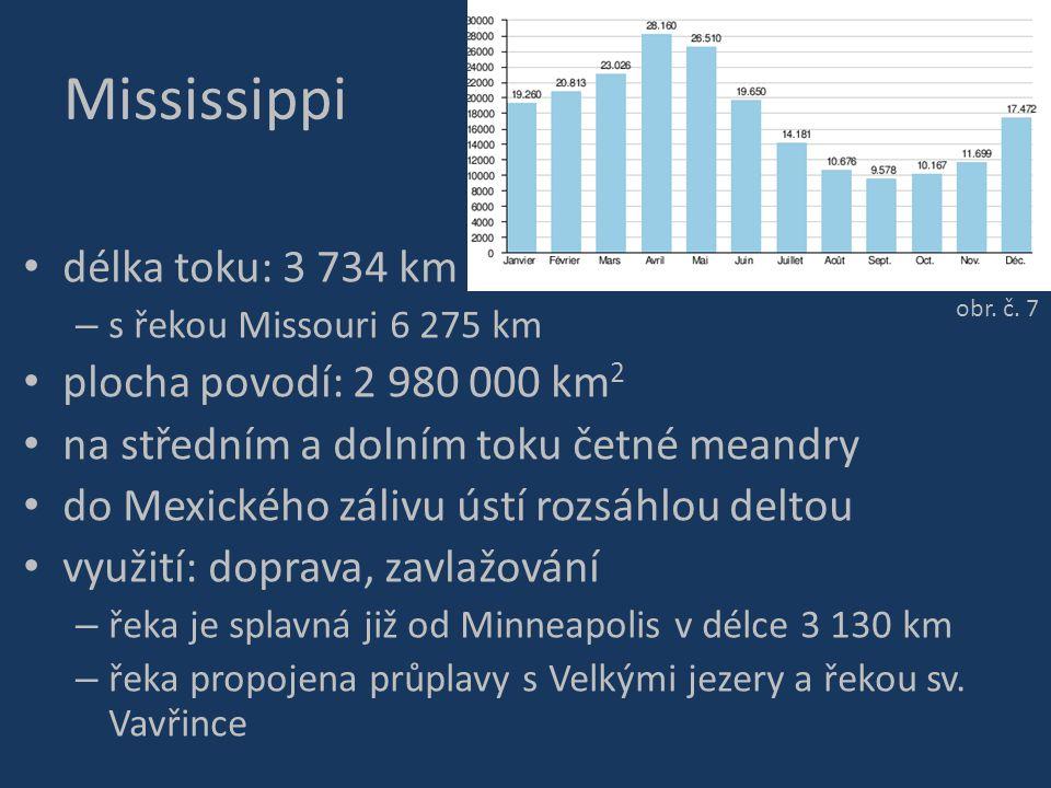 Mississippi délka toku: 3 734 km – s řekou Missouri 6 275 km plocha povodí: 2 980 000 km 2 na středním a dolním toku četné meandry do Mexického zálivu