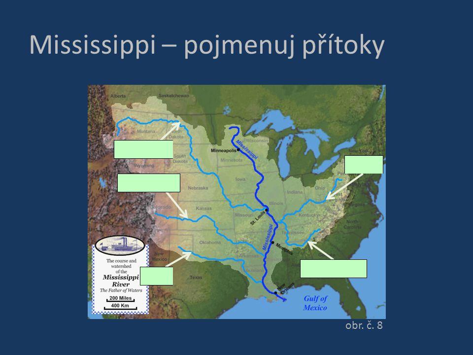 Mississippi – pojmenuj přítoky obr. č. 8