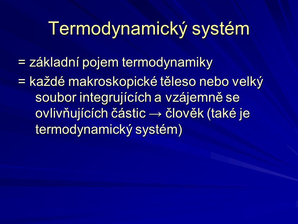 Termodynamický systém = základní pojem termodynamiky = každé makroskopické těleso nebo velký soubor integrujících a vzájemně se ovlivňujících částic →