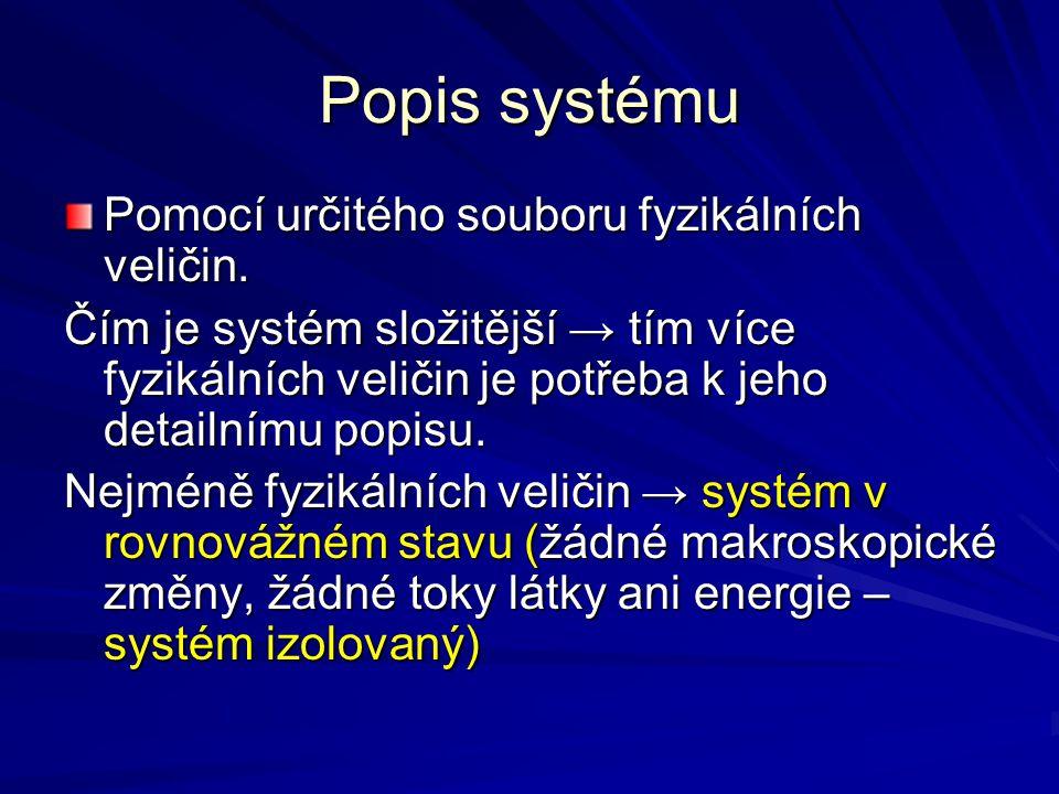 Popis systému Pomocí určitého souboru fyzikálních veličin. Čím je systém složitější → tím více fyzikálních veličin je potřeba k jeho detailnímu popisu