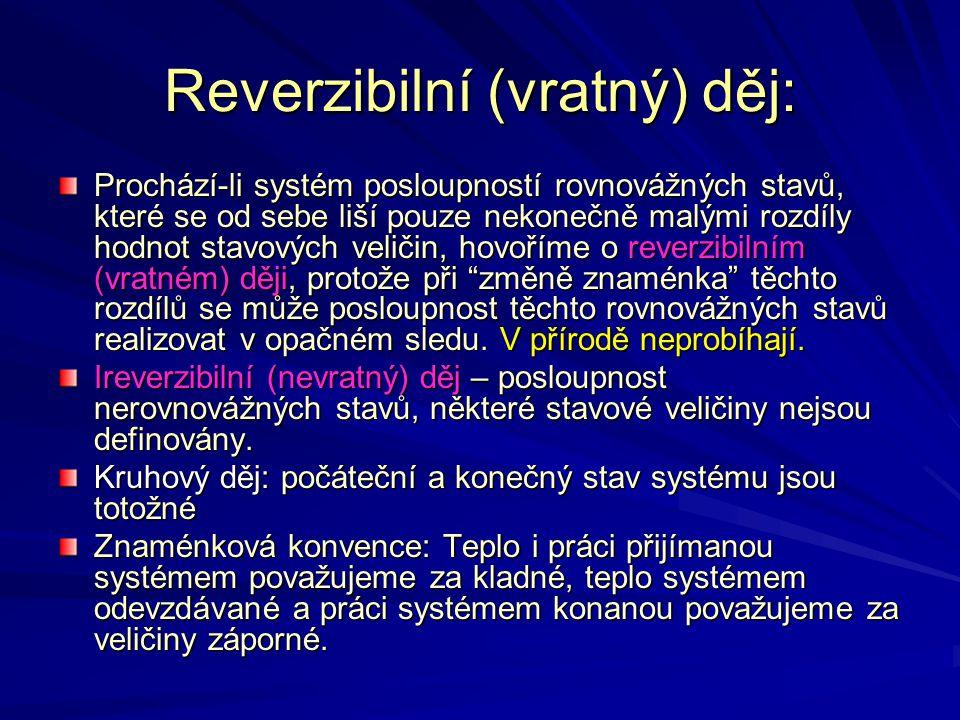 Reverzibilní (vratný) děj: Prochází-li systém posloupností rovnovážných stavů, které se od sebe liší pouze nekonečně malými rozdíly hodnot stavových v