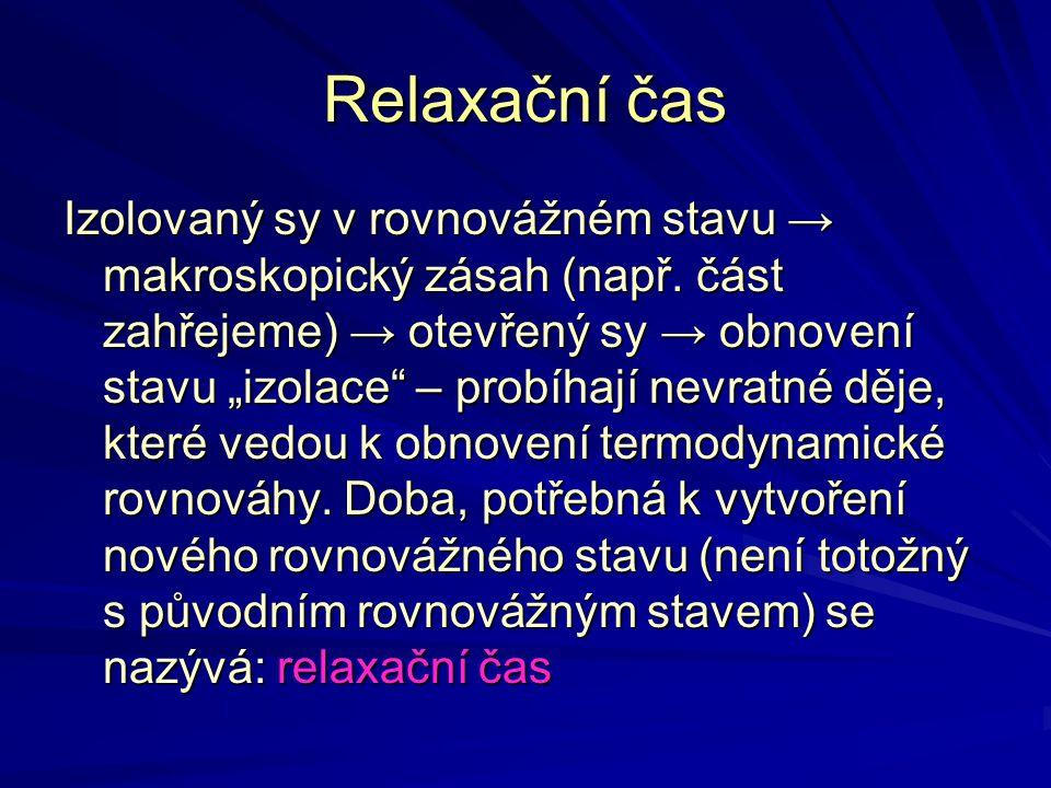 """Relaxační čas Izolovaný sy v rovnovážném stavu → makroskopický zásah (např. část zahřejeme) → otevřený sy → obnovení stavu """"izolace"""" – probíhají nevra"""