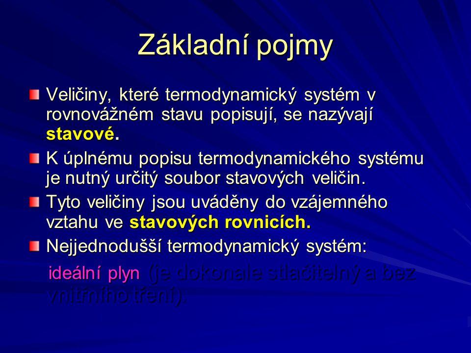 Základní pojmy Veličiny, které termodynamický systém v rovnovážném stavu popisují, se nazývají stavové. K úplnému popisu termodynamického systému je n