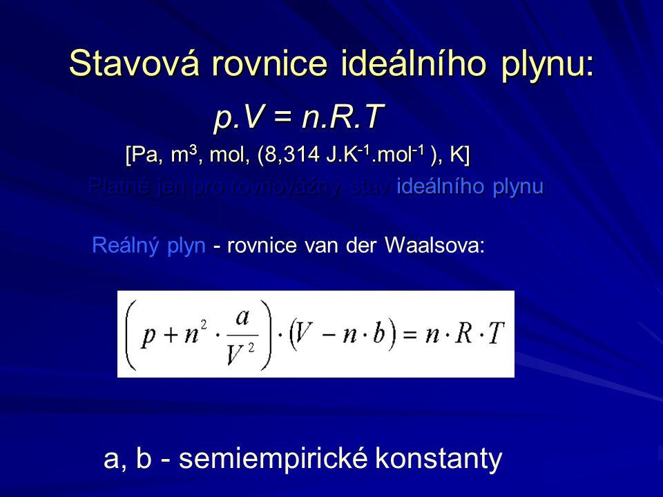 Stavová rovnice ideálního plynu: p.V = n.R.T [Pa, m 3, mol, (8,314 J.K -1.mol -1 ), K] Platné jen pro rovnovážný stav ideálního plynu Platné jen pro r