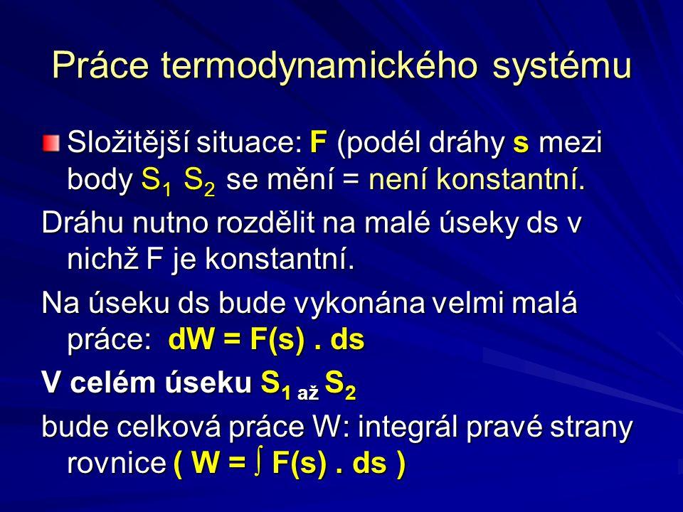 Práce termodynamického systému Složitější situace: F (podél dráhy s mezi body S 1 S 2 se mění = není konstantní. Dráhu nutno rozdělit na malé úseky ds