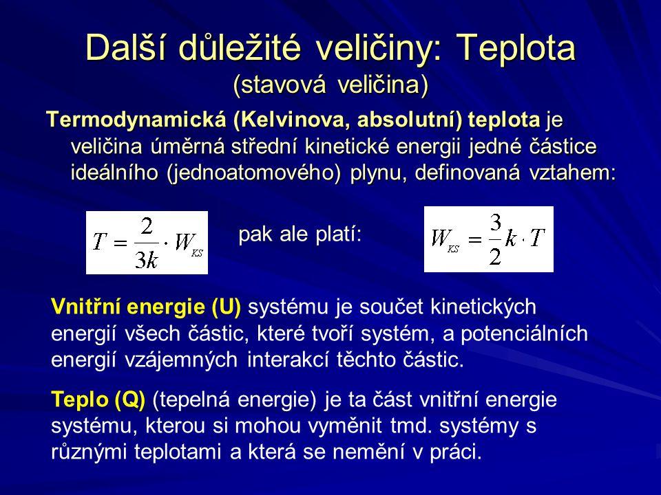 Další důležité veličiny: Teplota (stavová veličina) Termodynamická (Kelvinova, absolutní) teplota je veličina úměrná střední kinetické energii jedné č