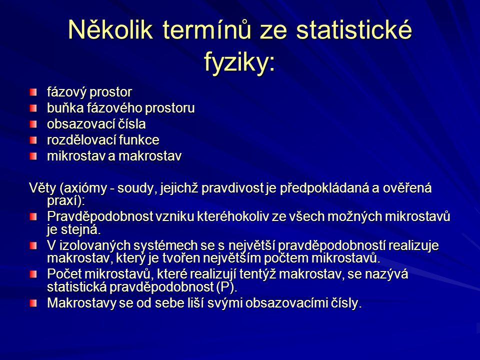 Několik termínů ze statistické fyziky: fázový prostor buňka fázového prostoru obsazovací čísla rozdělovací funkce mikrostav a makrostav Věty (axiómy -