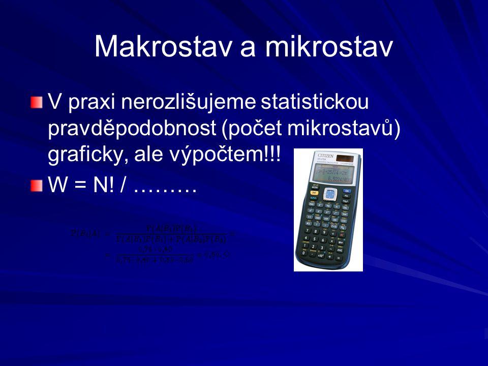 Makrostav a mikrostav V praxi nerozlišujeme statistickou pravděpodobnost (počet mikrostavů) graficky, ale výpočtem!!! W = N! / ………