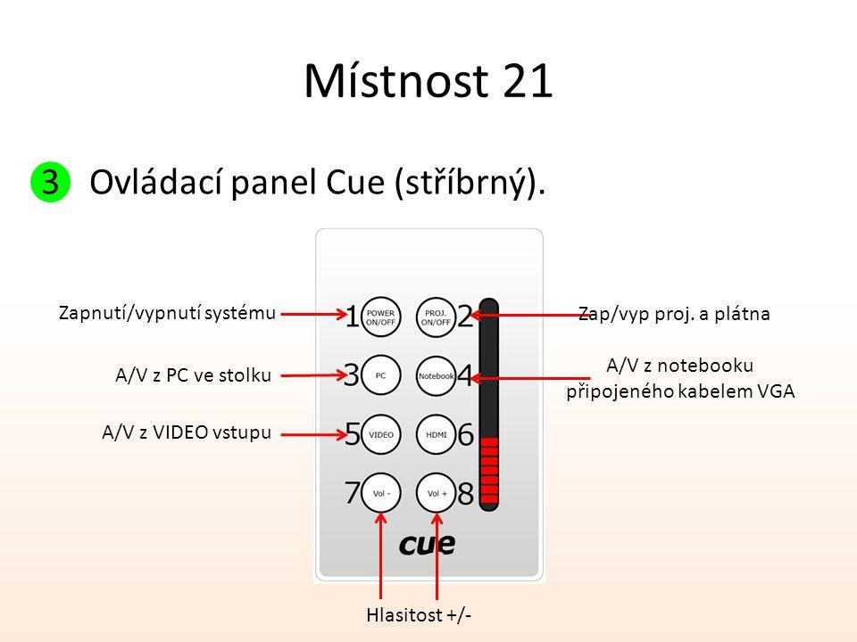 Místnost 21 3Ovládací panel Cue (stříbrný). Zapnutí/vypnutí systému A/V z PC ve stolku Zap/vyp proj. a plátna A/V z notebooku připojeného kabelem VGA