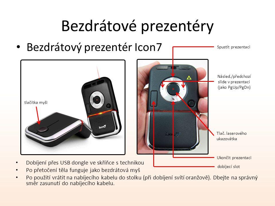 Bezdrátové prezentéry Bezdrátový prezentér Icon7 Dobíjení přes USB dongle ve skříňce s technikou Po přetočení těla funguje jako bezdrátová myš Po použití vrátit na nabíjecího kabelu do stolku (při dobíjení svítí oranžově).
