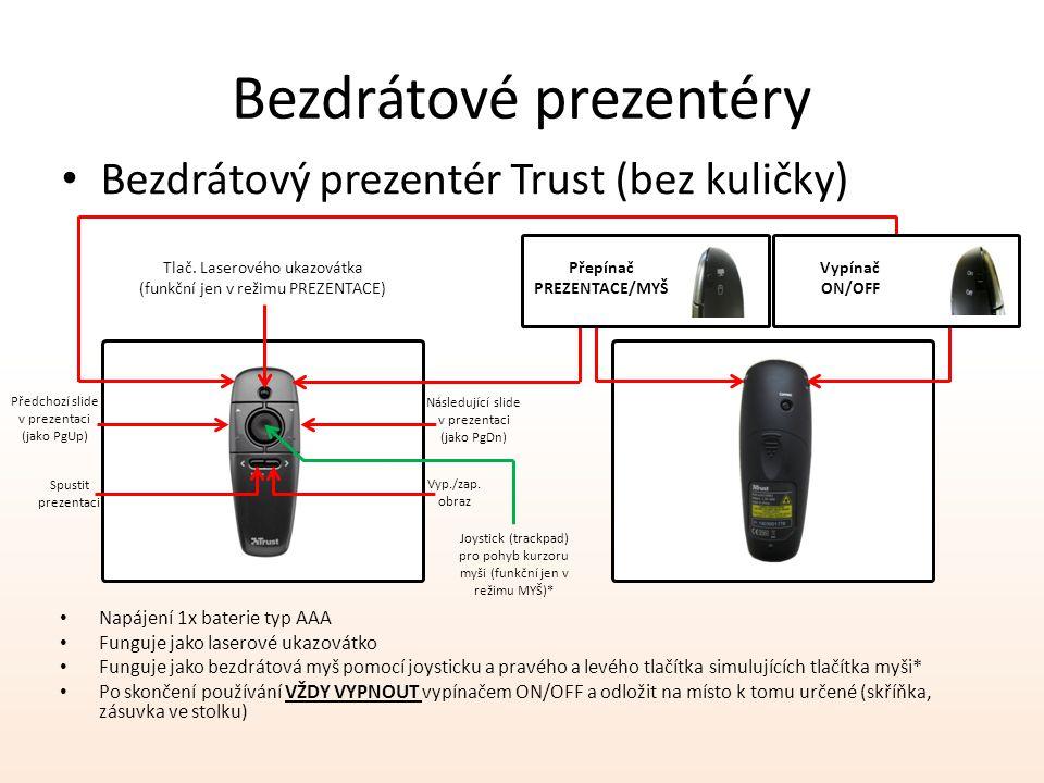 Bezdrátové prezentéry Bezdrátový prezentér Trust (bez kuličky) Přepínač PREZENTACE/MYŠ Vypínač ON/OFF Tlač. Laserového ukazovátka (funkční jen v režim