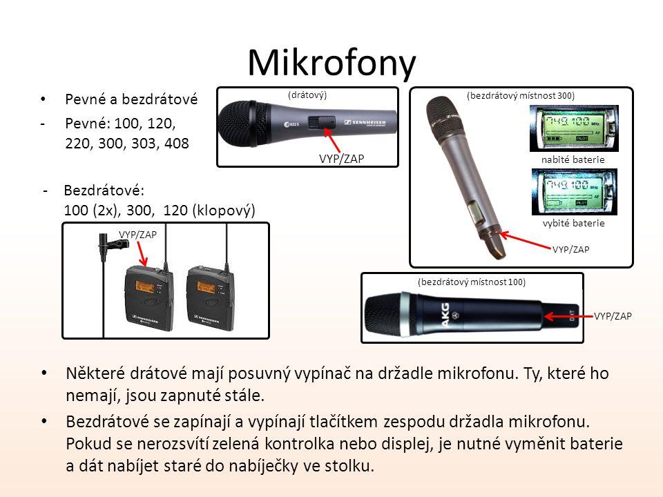 Mikrofony Pevné a bezdrátové -Pevné: 100, 120, 220, 300, 303, 408 Některé drátové mají posuvný vypínač na držadle mikrofonu.