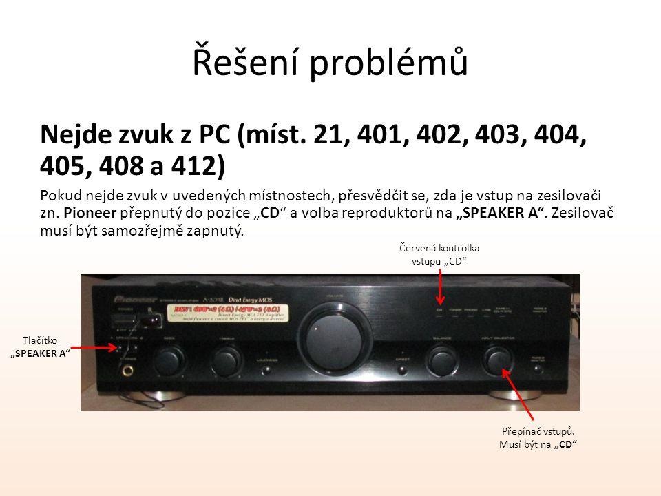 Řešení problémů Nejde zvuk z PC (míst. 21, 401, 402, 403, 404, 405, 408 a 412) Pokud nejde zvuk v uvedených místnostech, přesvědčit se, zda je vstup n