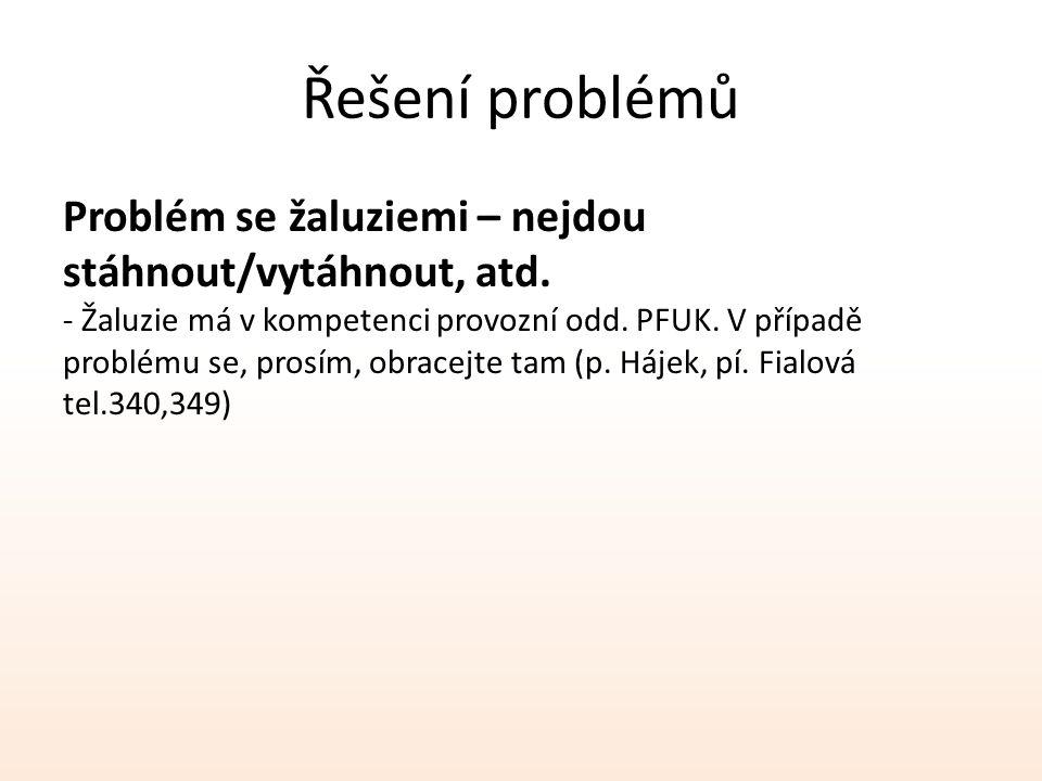 Řešení problémů Problém se žaluziemi – nejdou stáhnout/vytáhnout, atd. - Žaluzie má v kompetenci provozní odd. PFUK. V případě problému se, prosím, ob