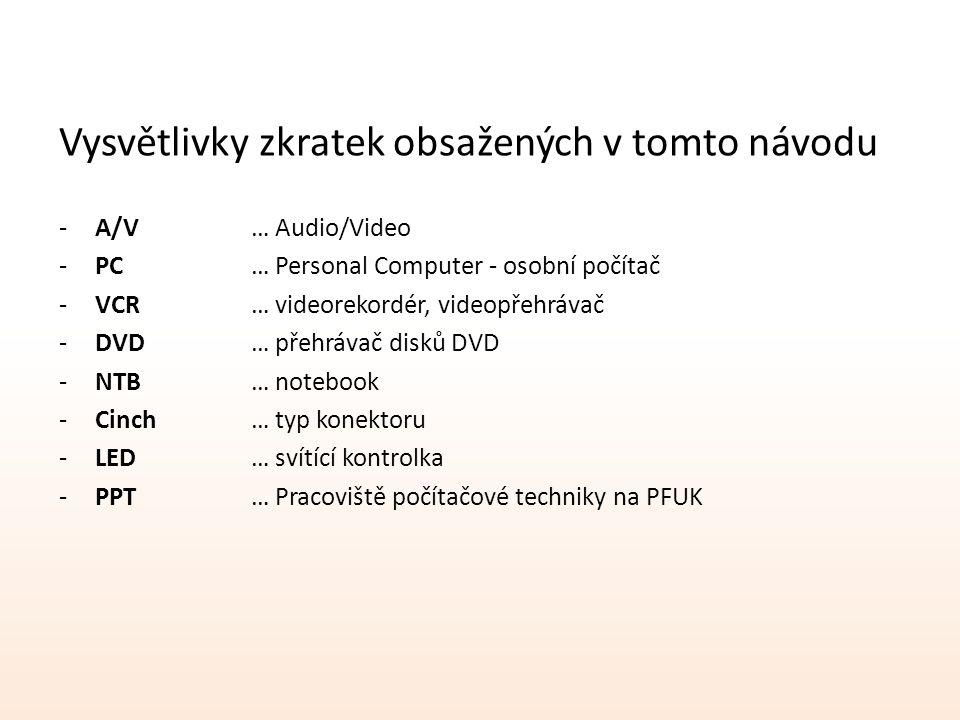 Vysvětlivky zkratek obsažených v tomto návodu -A/V… Audio/Video -PC… Personal Computer - osobní počítač -VCR… videorekordér, videopřehrávač -DVD… přehrávač disků DVD -NTB… notebook -Cinch… typ konektoru -LED… svítící kontrolka -PPT… Pracoviště počítačové techniky na PFUK