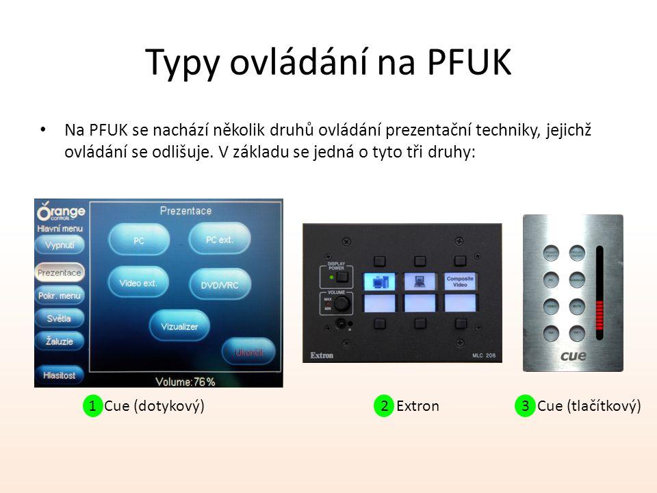 Typy ovládání na PFUK Na PFUK se nachází několik druhů ovládání prezentační techniky, jejichž ovládání se odlišuje.