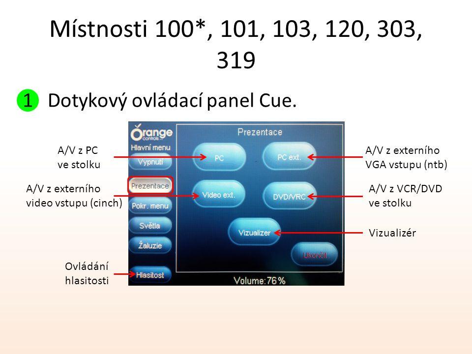 Místnosti 100*, 101, 103, 120, 303, 319 1 Dotykový ovládací panel Cue. A/V z PC ve stolku A/V z externího video vstupu (cinch) A/V z externího VGA vst