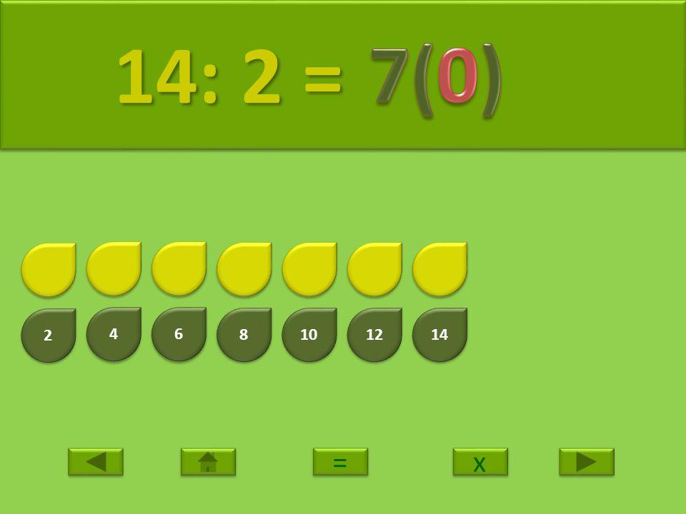 2 2 4 4 6 6 8 8 10 12 14 15: 2 = 15: 2 = x x = =