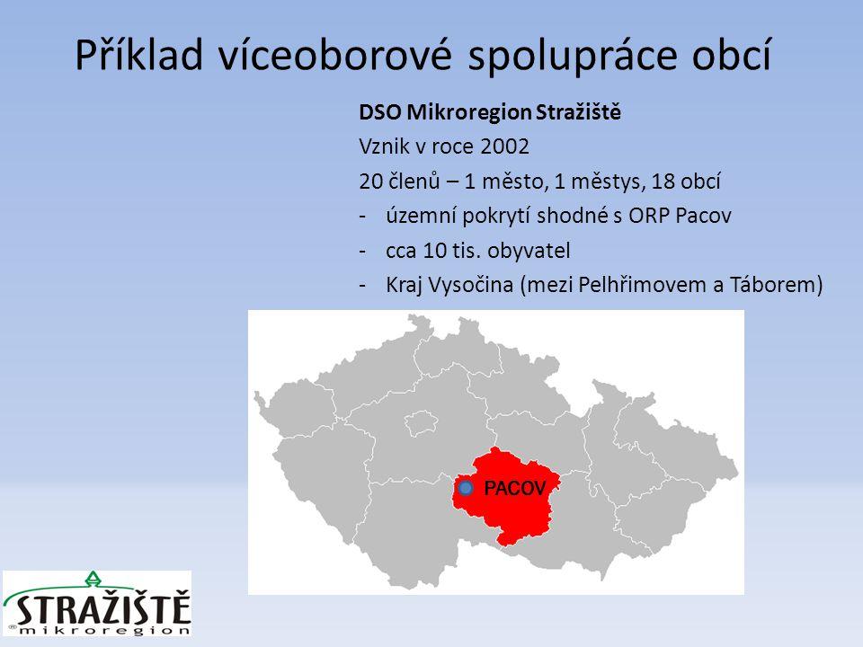 DSO Mikroregion Stražiště Vznik v roce 2002 20 členů – 1 město, 1 městys, 18 obcí -územní pokrytí shodné s ORP Pacov -cca 10 tis.