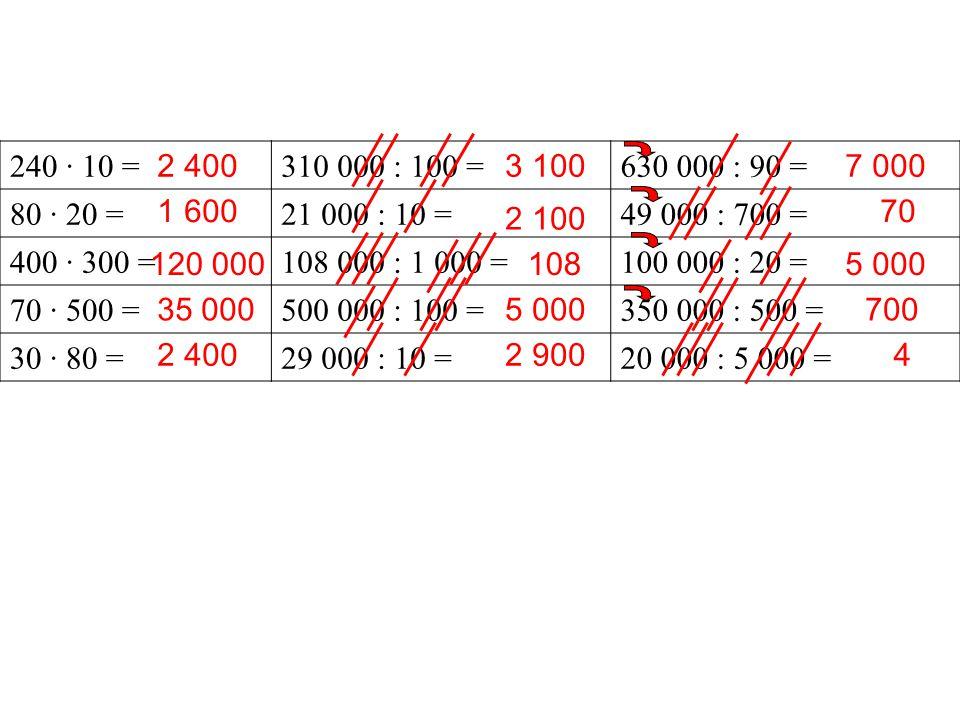 240 · 10 =310 000 : 100 =630 000 : 90 = 80 · 20 =21 000 : 10 =49 000 : 700 = 400 · 300 =108 000 : 1 000 =100 000 : 20 = 70 · 500 =500 000 : 100 =350 0