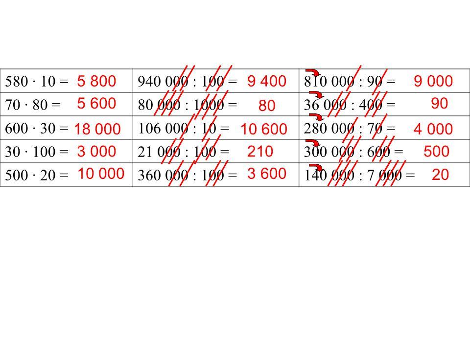 3 200 · 10 =860 000 : 100 =540 000 : 60 = 540 · 100 =104 000 : 100 =200 000 : 50 = 90 · 80 =28 000 : 1 000 =72 000 : 800 = 600 · 300 =700 000 : 10 =420 000 : 600 = 2 000 · 60 =18 000 : 100 =100 000 : 200 = 32 000 54 000 7 200 180 000 120 000 8 600 1 040 28 70 000 180 9 000 4 000 90 700 500