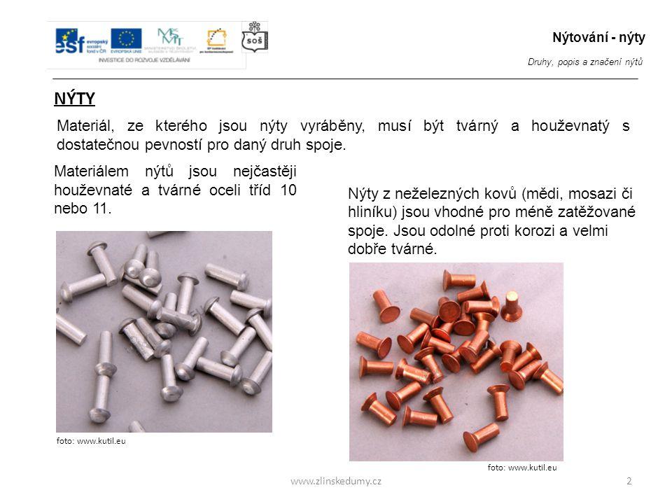 www.zlinskedumy.cz NÝTY 2 Nýtování - nýty Druhy, popis a značení nýtů Materiálem nýtů jsou nejčastěji houževnaté a tvárné oceli tříd 10 nebo 11. Nýty