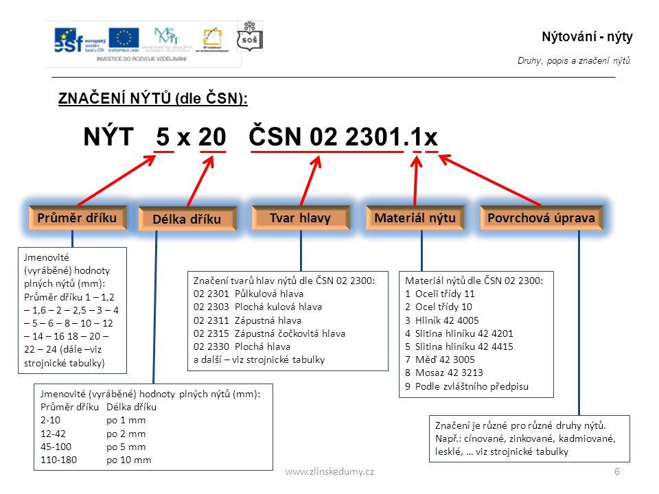 www.zlinskedumy.cz6 ZNAČENÍ NÝTŮ (dle ČSN): NÝT 5 x 20 ČSN 02 2301.1x Průměr dříku Délka dříku Tvar hlavy Materiál nýtu Povrchová úprava Jmenovité (vy