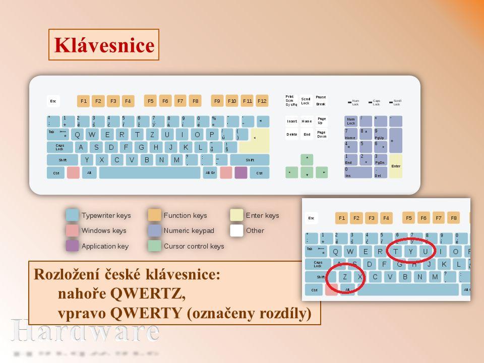 Klávesnice Rozložení české klávesnice: nahoře QWERTZ, vpravo QWERTY (označeny rozdíly)