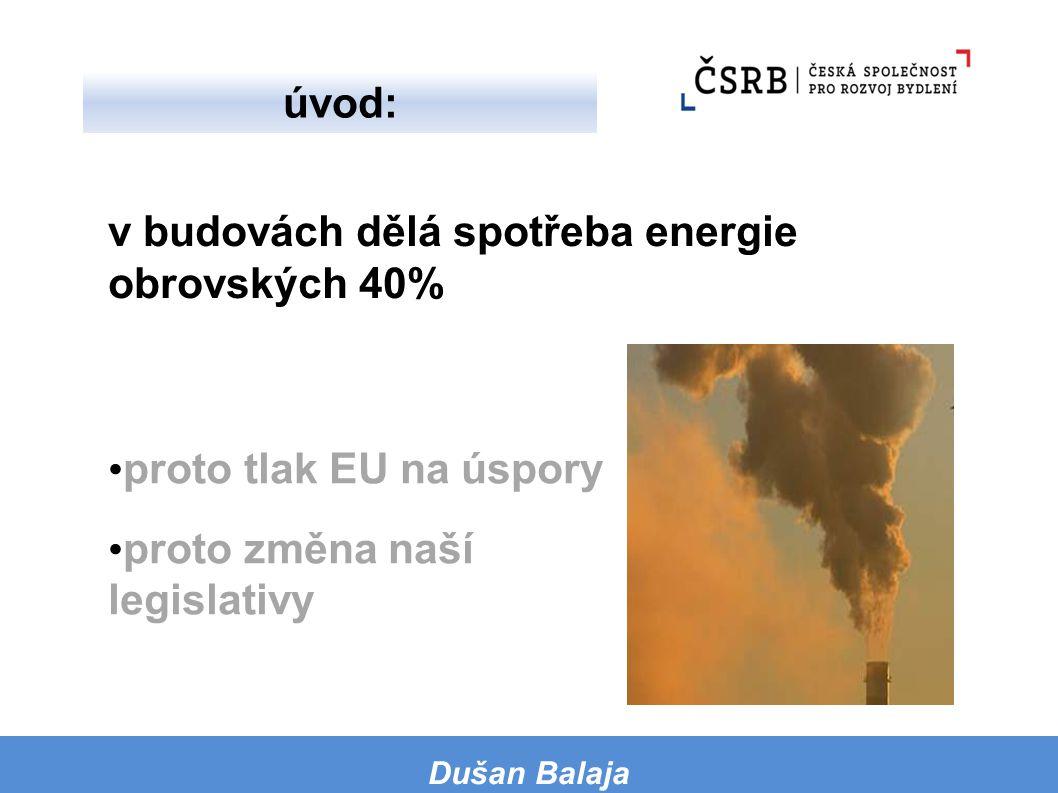 proto tlak EU na úspory proto změna naší legislativy v budovách dělá spotřeba energie obrovských 40% Dušan Balaja úvod: