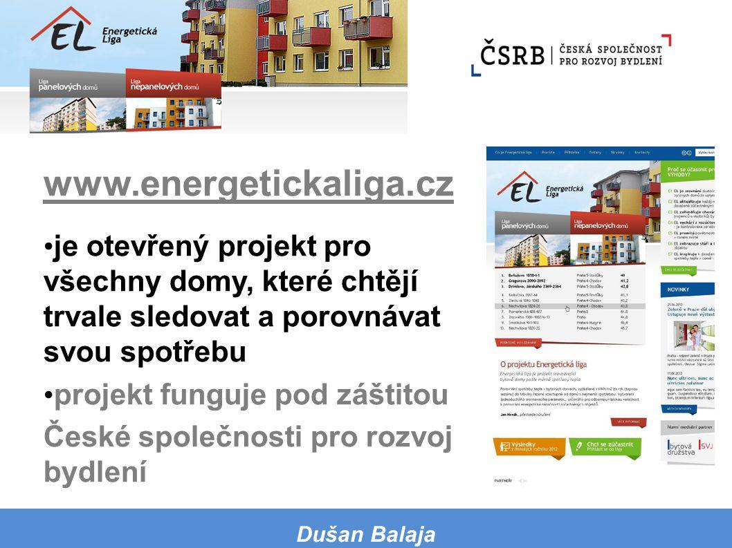 www.energetickaliga.cz je otevřený projekt pro všechny domy, které chtějí trvale sledovat a porovnávat svou spotřebu projekt funguje pod záštitou Česk