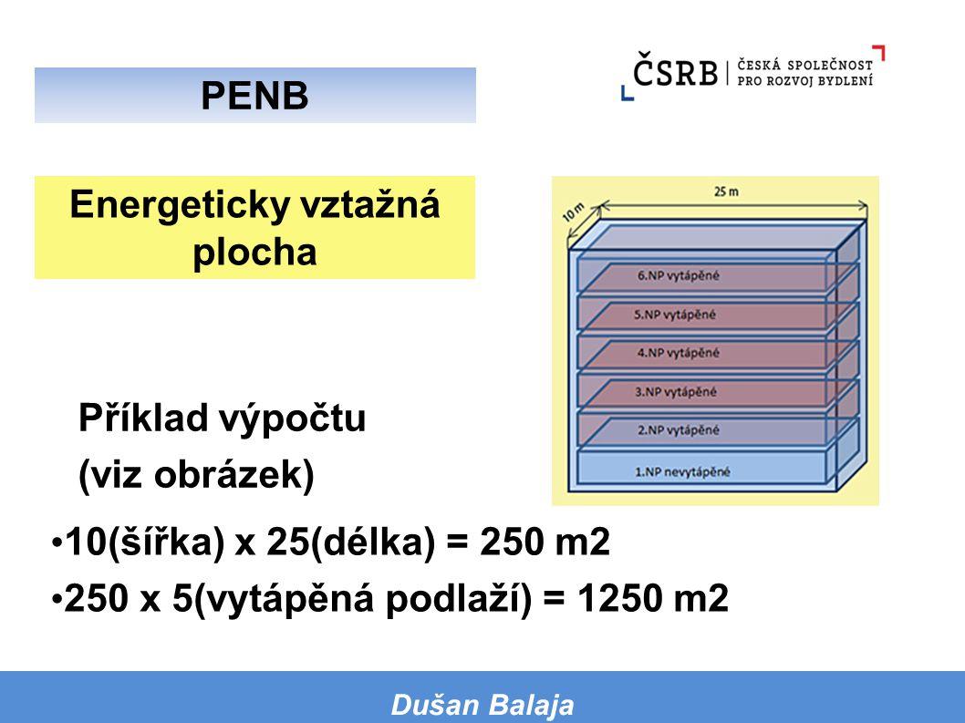 Energeticky vztažná plocha 10(šířka) x 25(délka) = 250 m2 250 x 5(vytápěná podlaží) = 1250 m2 Dušan Balaja PENB Příklad výpočtu (viz obrázek)