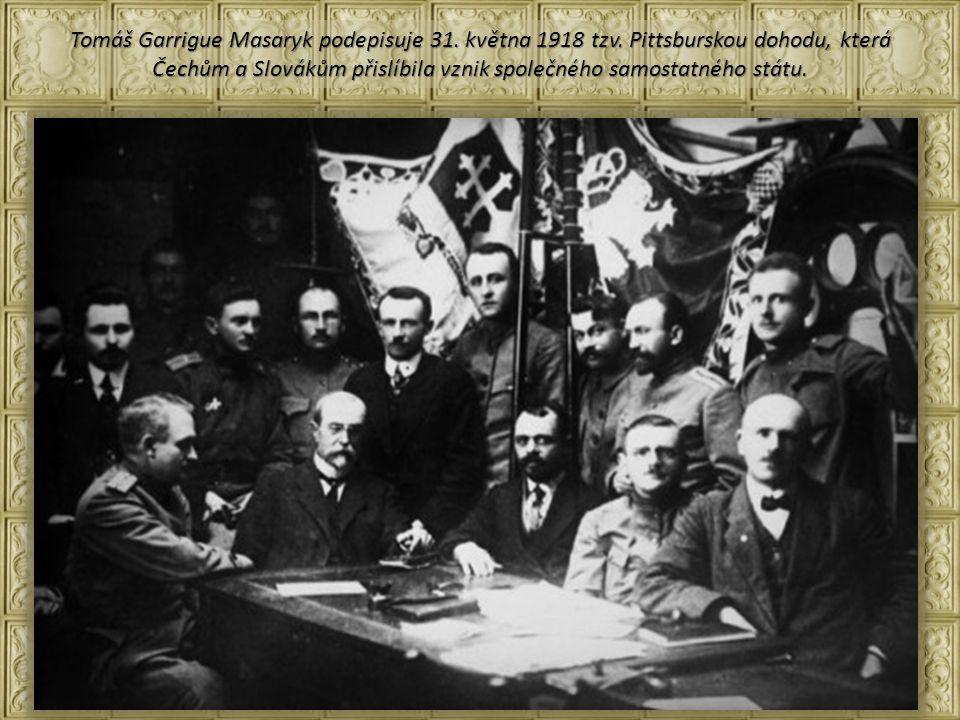 Tomáš Garrigue Masaryk podepisuje 31.května 1918 tzv.