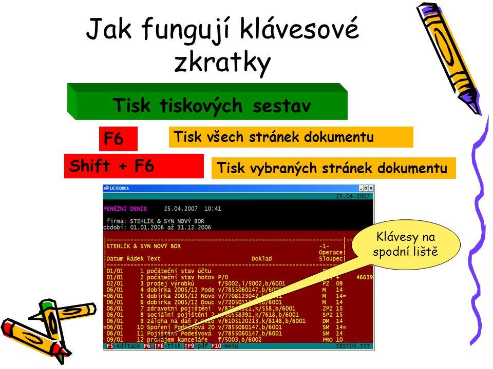 Jak fungují klávesové zkratky Tisk tiskových sestav F6 Shift + F6 Tisk vybraných stránek dokumentu Tisk všech stránek dokumentu Klávesy na spodní liště