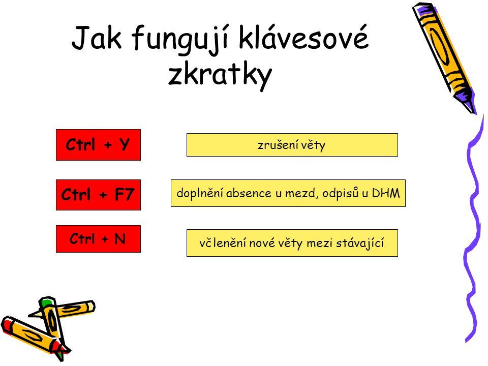 Jak fungují klávesové zkratky Ctrl + Y Ctrl + F7 Ctrl + N zrušení věty doplnění absence u mezd, odpisů u DHM včlenění nové věty mezi stávající