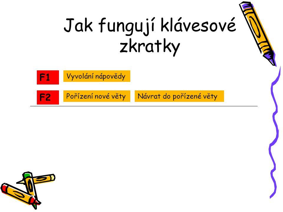 Jak fungují klávesové zkratky F1 F2 Vyvolání nápovědy Pořízení nové větyNávrat do pořízené věty