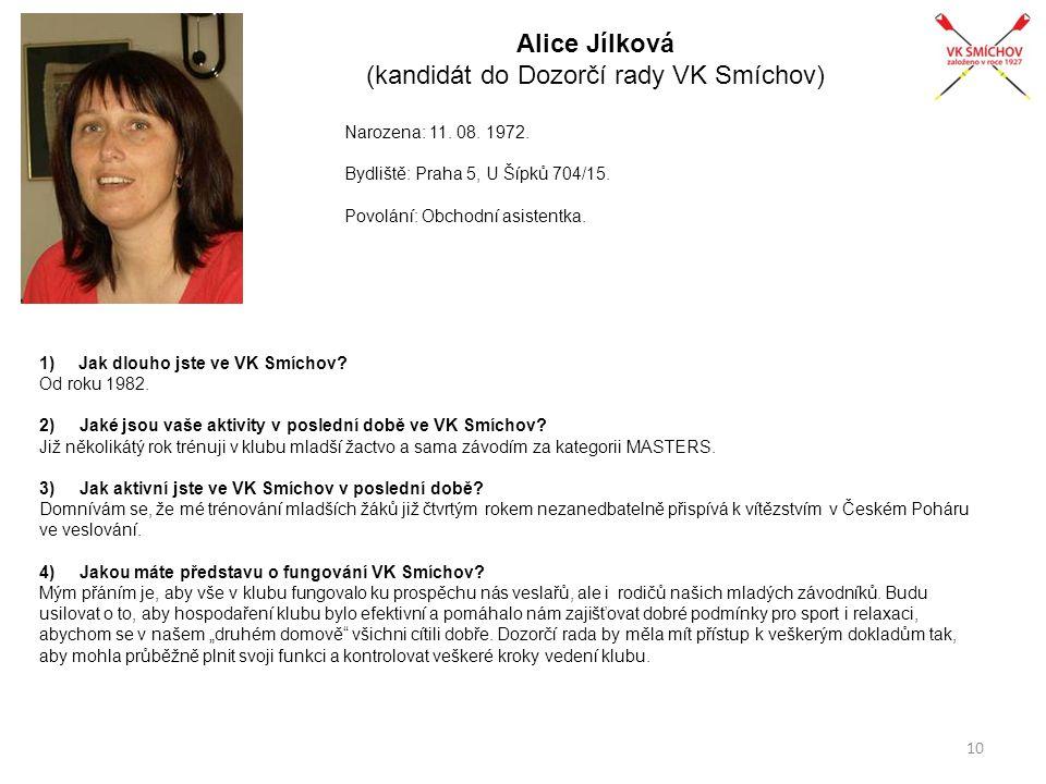 Alice Jílková (kandidát do Dozorčí rady VK Smíchov) Narozena: 11. 08. 1972. Bydliště: Praha 5, U Šípků 704/15. Povolání: Obchodní asistentka. 1)Jak dl