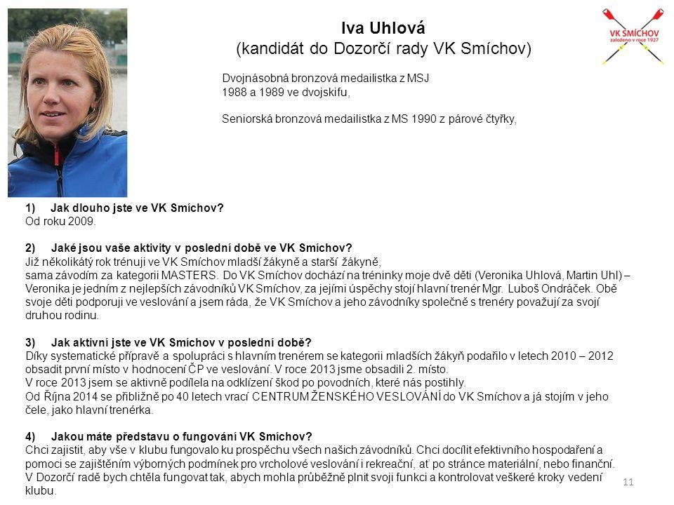 Iva Uhlová (kandidát do Dozorčí rady VK Smíchov) Dvojnásobná bronzová medailistka z MSJ 1988 a 1989 ve dvojskifu, Seniorská bronzová medailistka z MS 1990 z párové čtyřky, 1)Jak dlouho jste ve VK Smíchov.